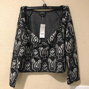 NWT Bebe black & grey metallic crop top